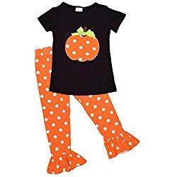Unique Baby Girls Fall Fashion Halloween Polka Dot Pumpkin Outfit