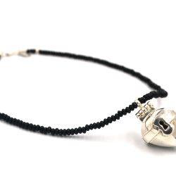 Susanna Strati, Love lock (key hole) Locket Necklace, 925 & Black agate beads - $595