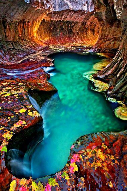 Изумрудный подземный бассейн, Национальный парк Зайон, штат Юта Emerald pool at Subway, Zion National Park, Utah