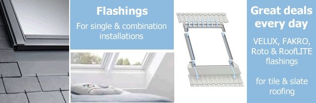 Cheap roof window flashings for VELUX, RoofLITE, FAKRO and Roto skylights.