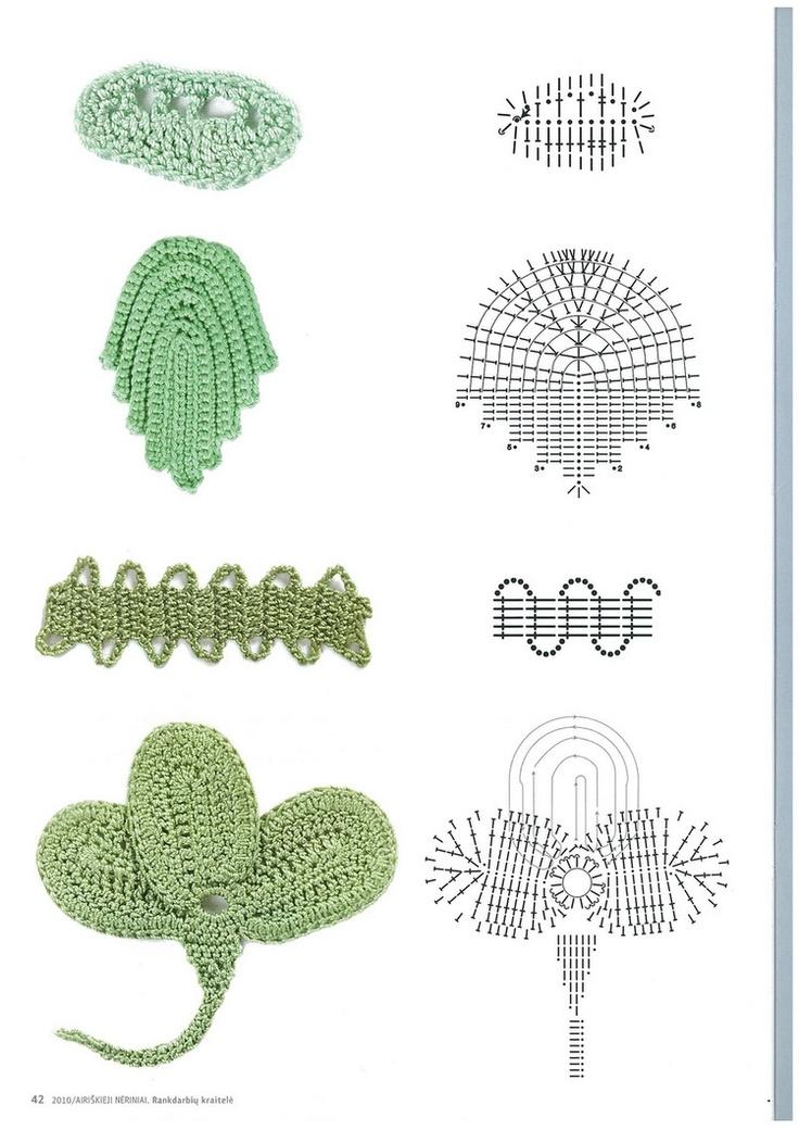 hojas patrones de crochet flores y hojas pinterest