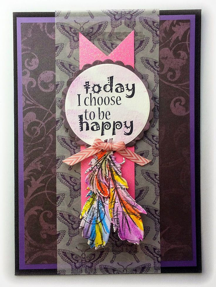 Today I choose to be happy. Card by Susanne Rose with DCWV paper and Rubber Dance stamps.