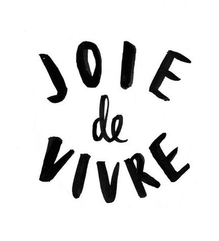 "Joie de vivre is a french term that means ""The joy of living"". Don't forget to express a cheerful enjoyment of life, an exultation of spirit. LIGHTEN UP!"