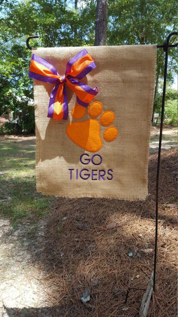 Garden Flag, Hostess Gift, Burlap Garden Flag, Clemson Flag, Go Tigers Flag, Welcome Flag, Clemson Tailgating Flag, Clemson Garden Flag
