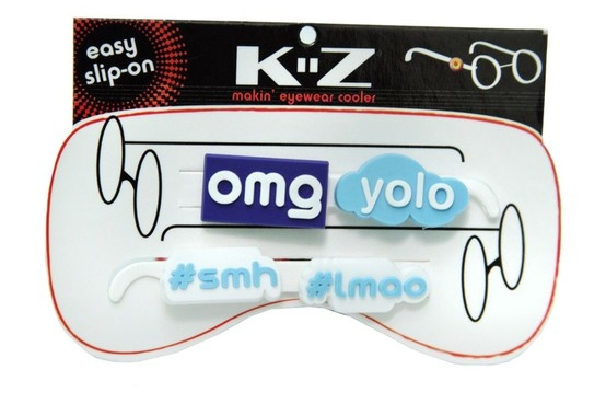 We love internet slang.  This collection celebrates the most popular internet phrases of the year.    This brilliant collection includes 4 styles of eyewear charms: 1 OMG, 1 YOLO, 1 LMAO and 1 SMH. Color is blue and white.  Our best seller!  Material is soft rubber