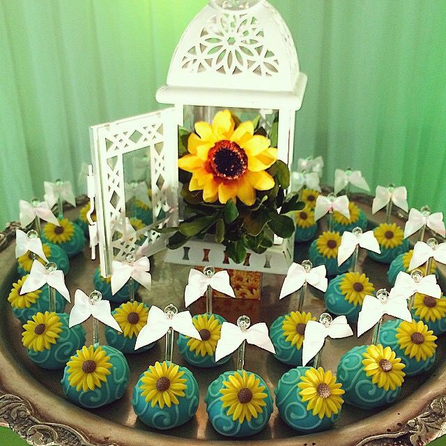 Sunflower cake cake pops Disney Frozen Fever Birthday Party Ideas