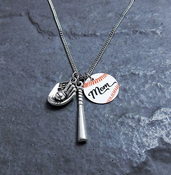 Baseball Mom Necklace - Baseball Gifts - Stainless Steel Chain Necklace - Sports Jewelry - Baseball Mom Pendant - Baseball Charm