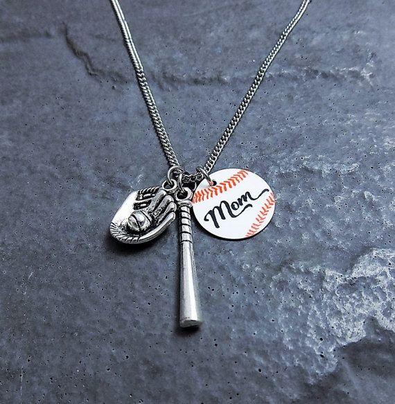Baseball Mom Necklace - Baseball Gifts - Stainless Steel Chain Necklace - Sports Jewelry - Baseball Mom Pendant - Baseball Charm