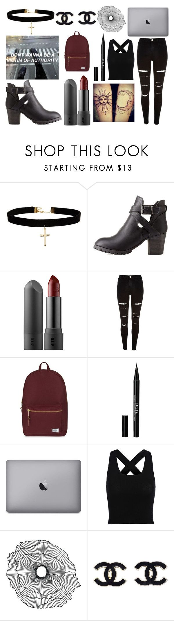 """""""Don't Wanna Be A Victim Of Authority"""" by anajeps ❤ liked on Polyvore featuring ASOS, Charlotte Russe, River Island, Herschel Supply Co., Stila, Home Decorators Collection, black, Punk, 5sos and fashian"""