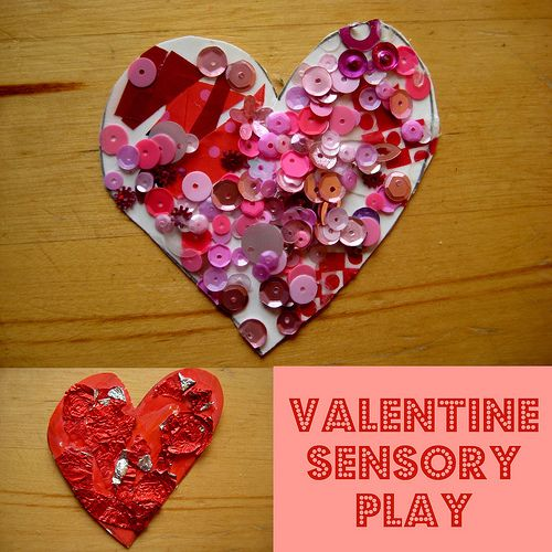 Touchy-Feely Hearts Valentine art and craft for kids: with sensory play for babies and toddlers - this also reminded me of a craft I did in grade school w tissue paper:)