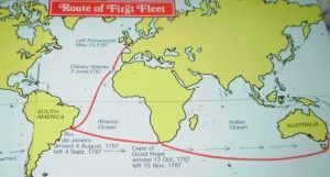 The First Fleet route from England to Australia.  http://firstfleetfellowship.org.au/ships/the-voyage/