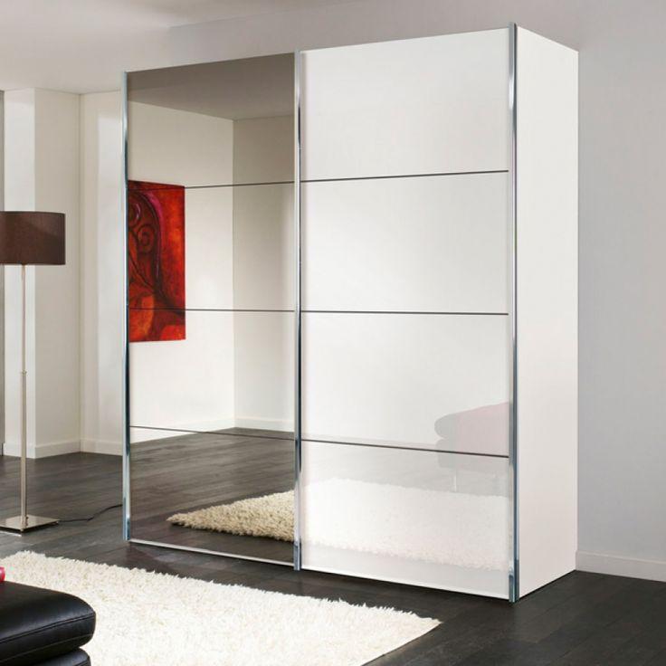 Sliding door wardrobe Louisville (with mirrors) - Polar White / White Patent