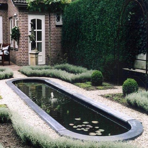 Langwerpige vijver in strakke tuin - Oblong pond in modern garden ♥ Fonteyn