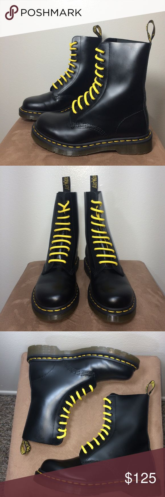 """Dr. Martens 1490 10 Eye Black Smooth Leather Boots Dr. Martens 1490 10 Eye Black Smooth Leather Boots. UK 4. US Women's 6. Very light creasing. Light wear on heels. Like-new. Includes yellow & black laces. Removable insoles. Classic essential boots!   Insole - 9.25""""  *I'm not responsible for the fit of an item*   I don't discuss prices through comments, please use the offer button!  ⚡️ I ship everyday Monday - Friday  All packages handled with care  Bundle 2+ items for a discount  I don't…"""