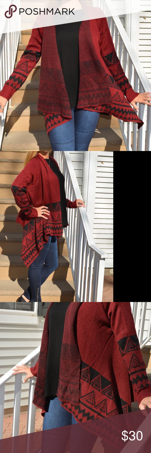 Red and Black Tribal Print Cardigan Red and Black Tribal Print Cardigan, One Size Fits All. Extremely warm, soft, and comfortable. Sweaters Cardigans