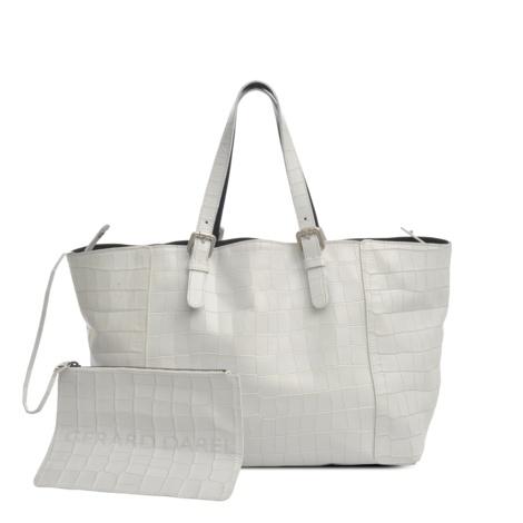 White croc-print leather Simple bag by Gérard Darel #monnierfreres #gerarddarel #bag