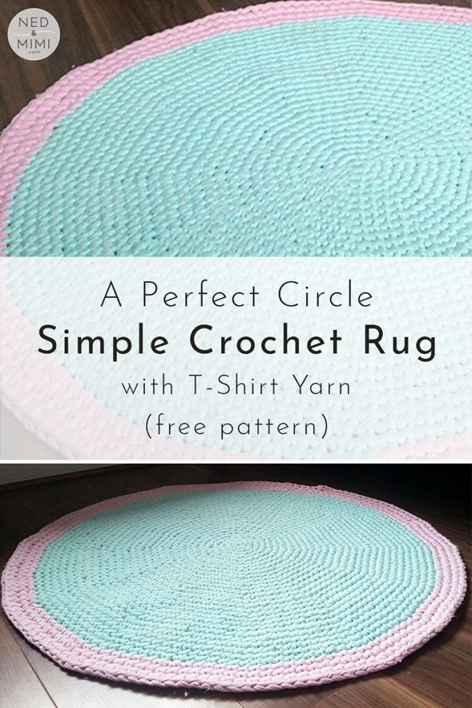 Round Crochet Rug With T Shirt Yarn Free Pattern Ned Mimi Crochet Rug Patterns Free Crochet Carpet Crochet T Shirts
