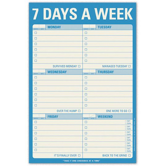 Knock Knock 7 DAYS A WEEK Classic Pad   MonsterMarketplace ...