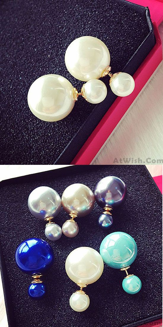 Which color do you like? Fashion Pure White Pearl Girl Earring Double Pearl Earring Studs #pearl #earring #fashion #women #girl