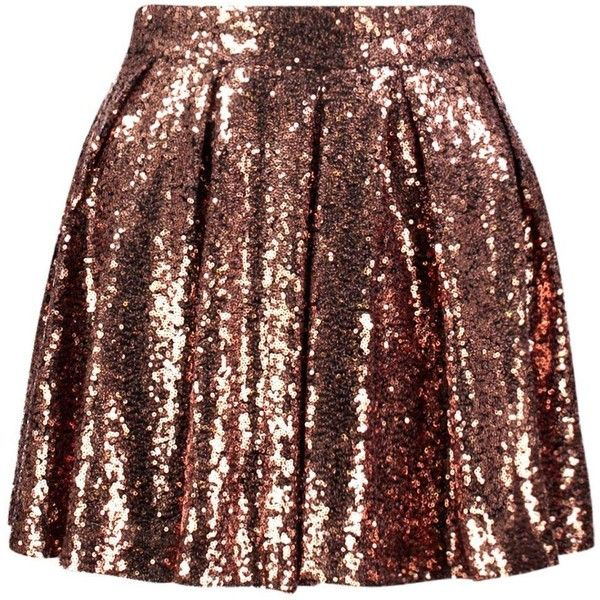 Boohoo Petite Selina Sequin Skater Skirt | Boohoo featuring polyvore, women's fashion, clothing, skirts, skater skirts, brown skirt, circle skirt, flared skirts and brown skater skirt