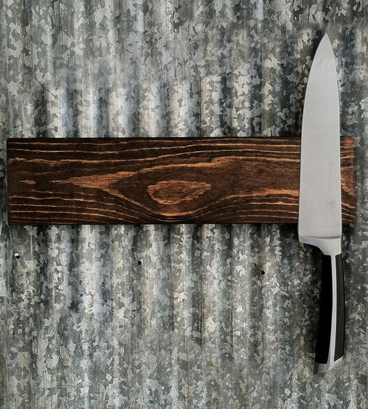 Walnut Magnetic Knife Rack | This wood knife rack keeps your knives out of the way and look... | Knife Blocks & Holders
