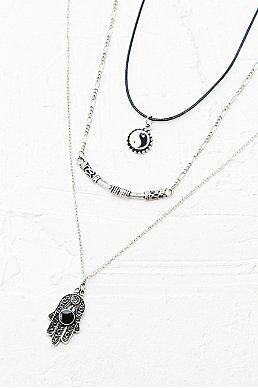 Yin Yang Hamsa Layering Necklace