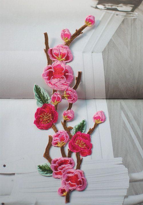 Plum applique embroidery vintage floral patch dress accessories iron on patch applique home decoration
