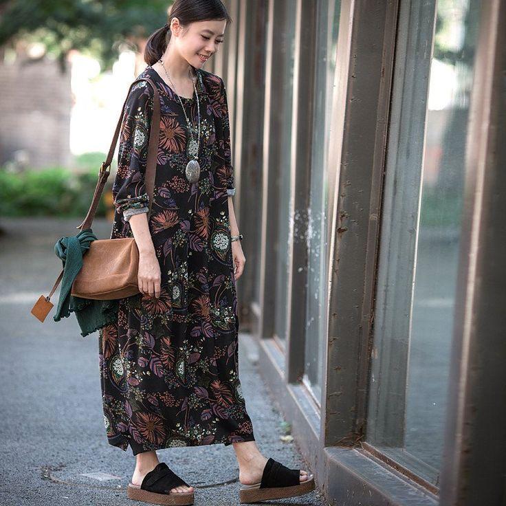 Retro Floral Loose Elegant Dresses Casual Clothes for Women Q1175A