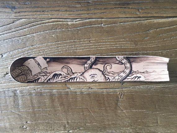 Leather Bookmark. Pyrography Leather bookmark. Nautical theme, kraken design by…