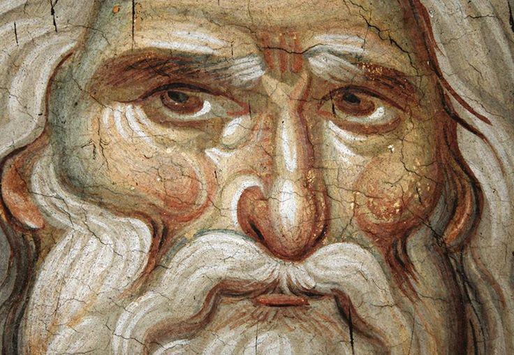 Icon Prophet Elias (detail) from Protaton church, Mount Athos. Manuel Panselinos (circa 1300)