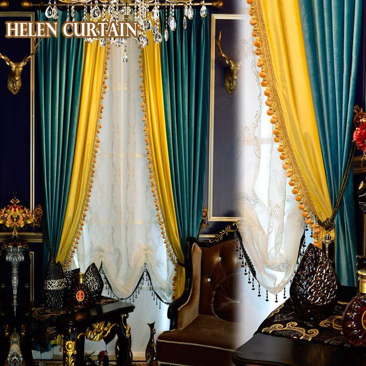 Interior Inspiration Helen Curtain Luxury Italian Velvet Splice Yellow  Green European Style Curtains For Living Room White Tulle Window Valance  V 96 ...