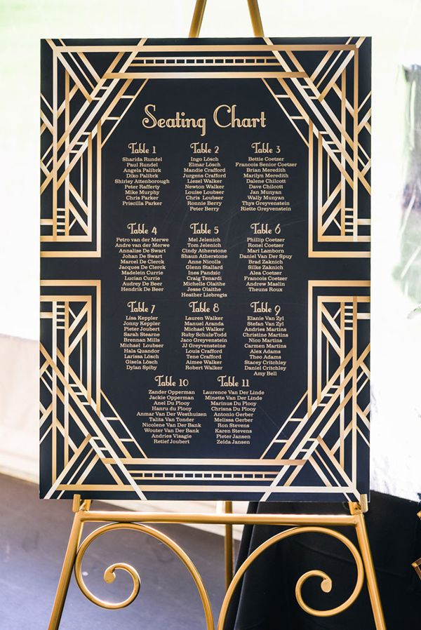 Gatsby inspired seating chart - photo by Carla Atley Photography http://ruffledblog.com/glam-gatsby-inspired-wedding-in-perth