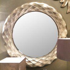 Round Champagne Silver Wall Mirror - Orin - 106 cm