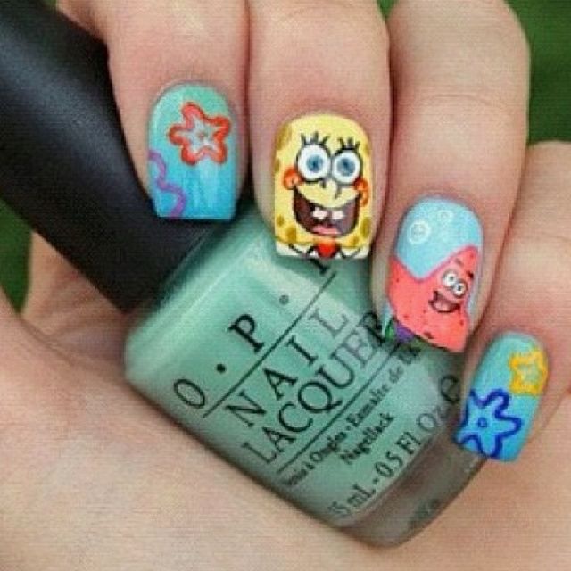 Best Spongebob Nails Tutorial By Nded Images On Pinterest - Spongebob nail decals