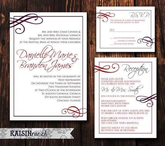3PC Wedding Invitation Reception Card RSVP Card  by RaisinRanch, $30.00