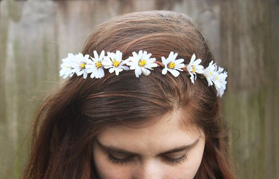 Daisy Headband EDC Rave Daisy Chain Hippie by BloomDesignStudio