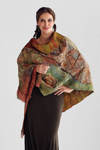 Nuno-felted Wrap in Orange, Olive & Browns: Anne Vincent: Wool Wrap - Artful Home