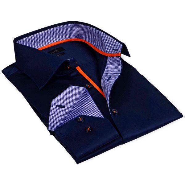 Levinas Men's Houndstooth Lined Dress Shirt - Dark Blue/Navy ($39) ❤ liked on Polyvore featuring men's fashion, men's clothing, men's shirts, men's dress shirts, mens long sleeve cotton shirts, old navy mens shirts, mens navy blue dress shirt, mens dress shirts and mens navy blue shirt