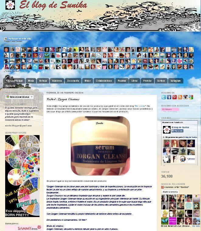 """Blog: """"El blog de Sunika"""". Producto: Zorgan Cleanser."""