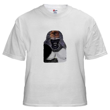 African Mountain Gorilla Endangered Species Tshirt - in a range of sizes right up to XXXXL.