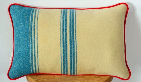 Upcycled Wool Cushion, Recycled Wool Pillow, Recycled Woollen Blanket, Irish Wool Blanket, Foxford Blanket – Handmade in Ireland