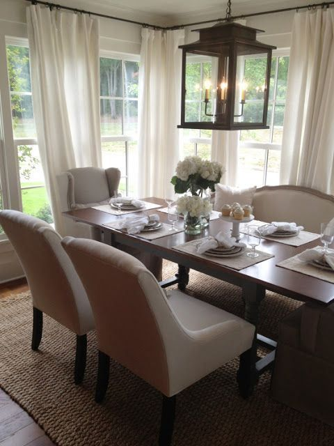 Dining room inspiration. Curtains & large lantern light fixture chandelier. Love everything!