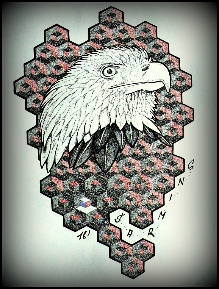 American eagle with hexan cube :-) tattoo flash