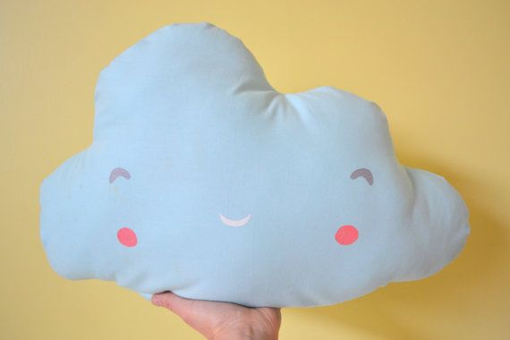 Cute Plush Cloud Pillow Hand Printed Nursery Decor in Baby Blue. $15.00, via Etsy.