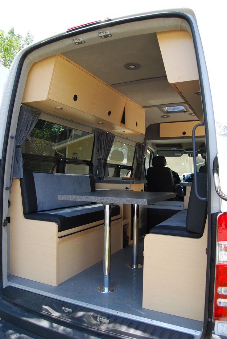 This van has been customized so that it comfortably sleeps 2 adults and 2 kids