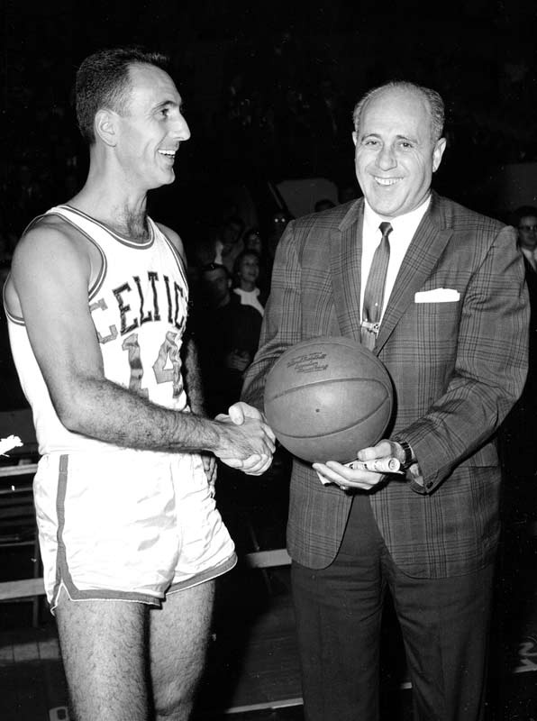 Bob Cousy & Red Auerbach of the legendary 1950s Boston Celtics dynasty.