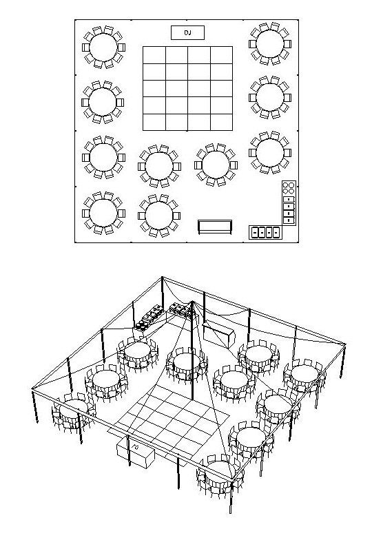 40 best 001 : Reception : Layout Round + Rectangle Tables