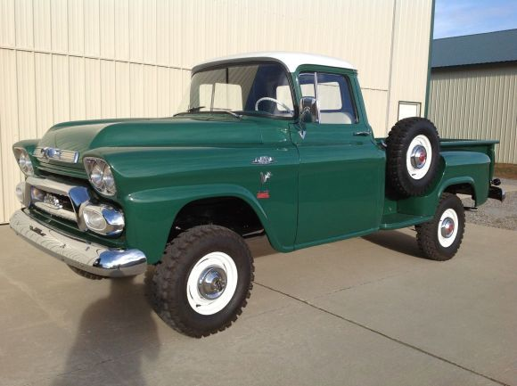 1958 GMC half ton pick-up is a rare NAPCO converted 4X4. Many of these trucks were used by the US Forest Service  and in other similarly rugged roles, and though about as minimally equipped as an old farm tractor thats what makes them so cool.