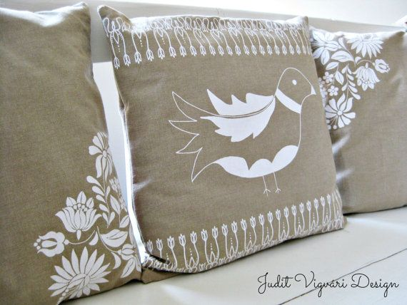 Flowers of Kalocsa handmade screen printed cushion by FolkAffair, $26.00