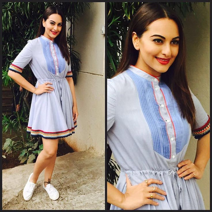 #Repost @aasthasharma612 ・・・ Looking super cute in @tommyhilfiger today! Sonakshi Sinha for Akira's promotional interviews! Rings by @swarovski ❤️ #Wardrobist #sonastylefile #6daystogo!!